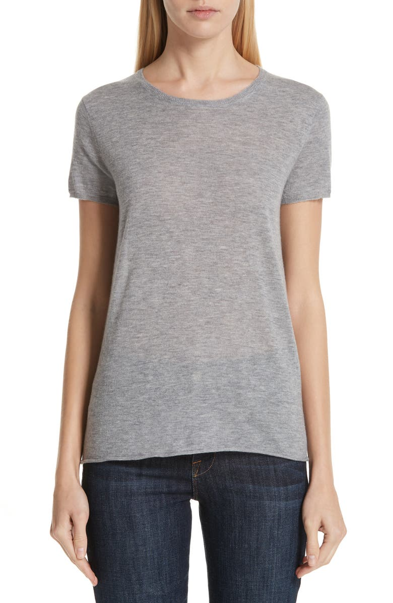 MAJESTIC FILATURES Cashmere Tee, Main, color, GRIS CHIN CLAIR