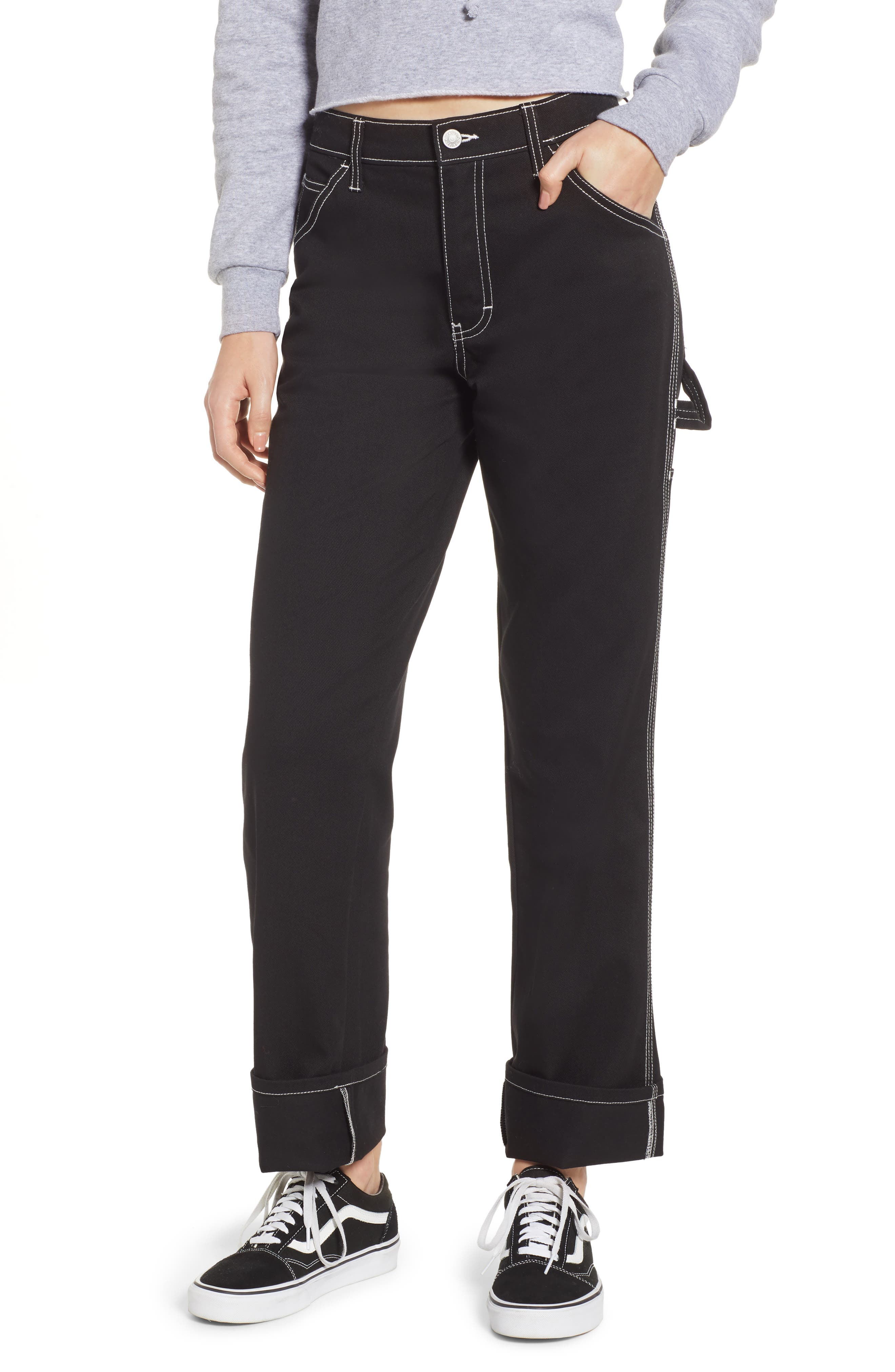 Relaxed Fit Carpenter Pants, Main, color, BLACK