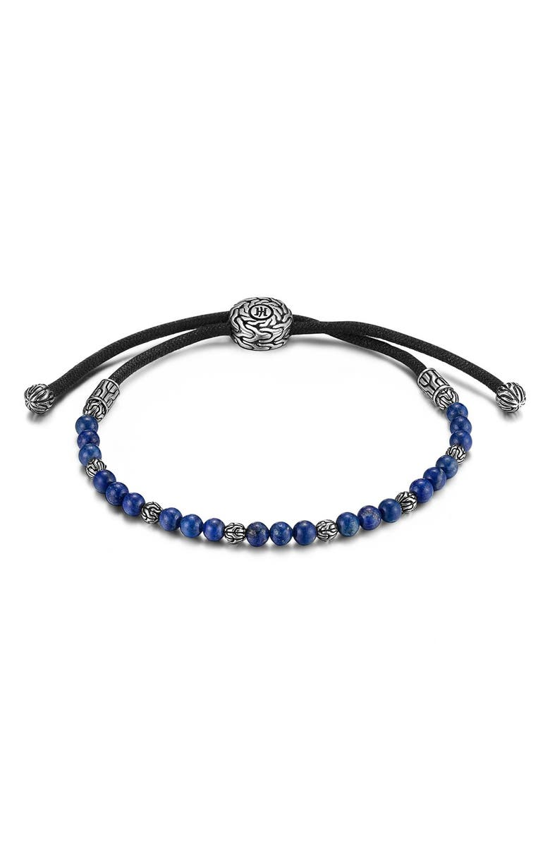 JOHN HARDY Men's Classic Chain Beaded Friendship Bracelet, Main, color, SILVER/ LAPIS LAZULI