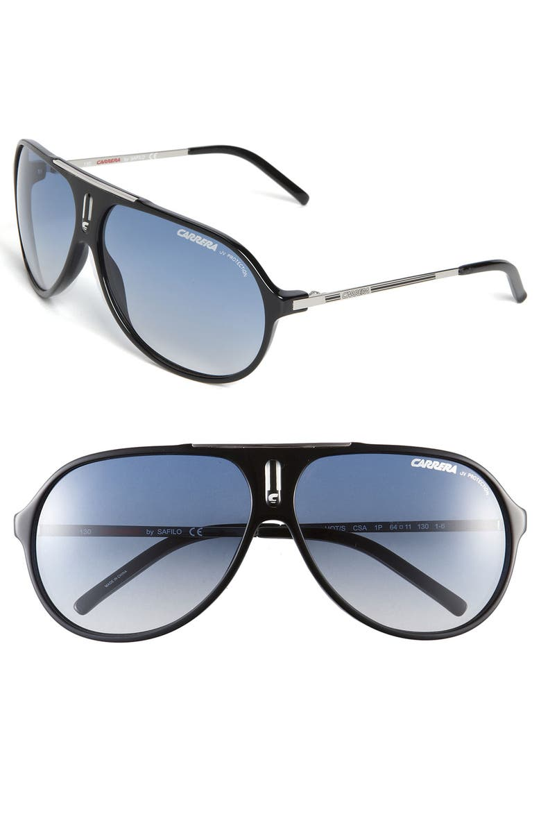 CARRERA EYEWEAR 'Hots' 64mm Aviator Sunglasses, Main, color, 001