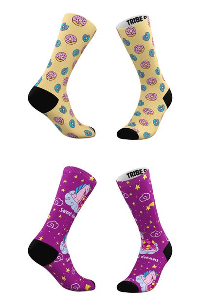 Tribe Socks ASSORTED 2-PACK SWEET DREAMS & FROSTED DONUTS CREW SOCKS