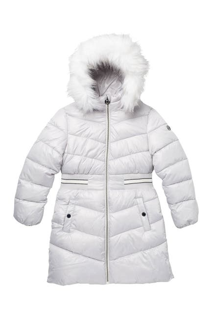 Image of Michael Kors Heavyweight Removable Faux Fur Hood Jacket
