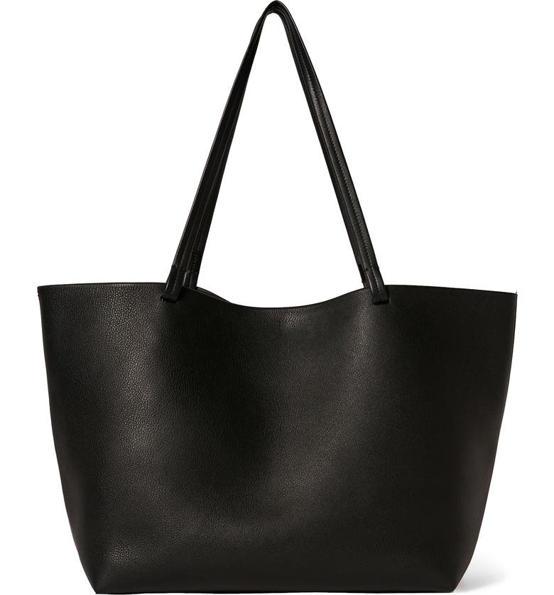THE ROW Park Leather Tote, Main, color, BLACK SHG
