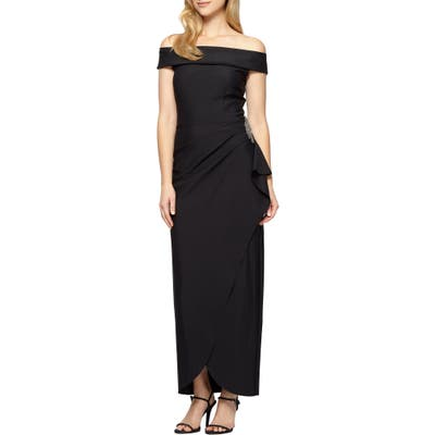 Alex Evenings Off The Shoulder Side Swept Evening Gown, Black