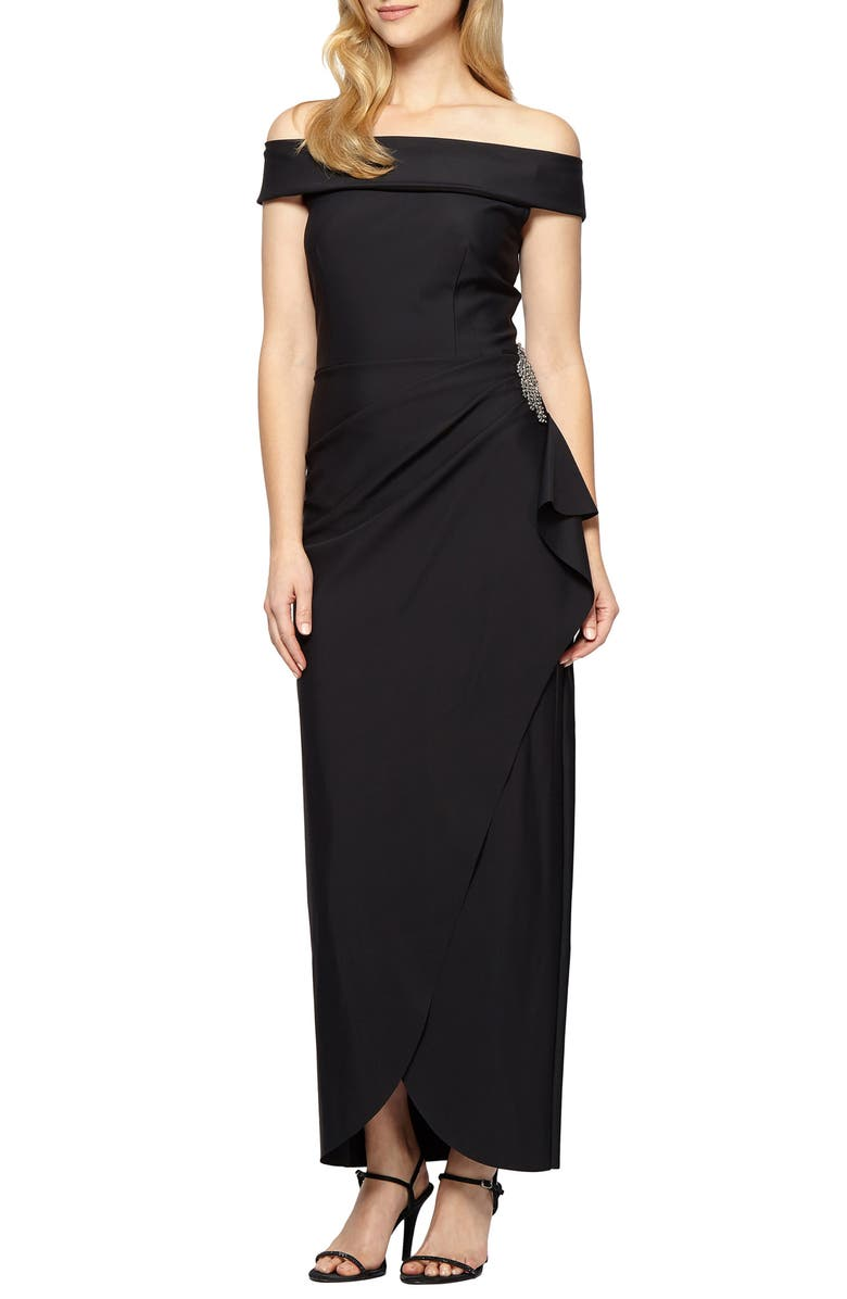 ALEX EVENINGS Off the Shoulder Side Swept Evening Gown, Main, color, BLACK