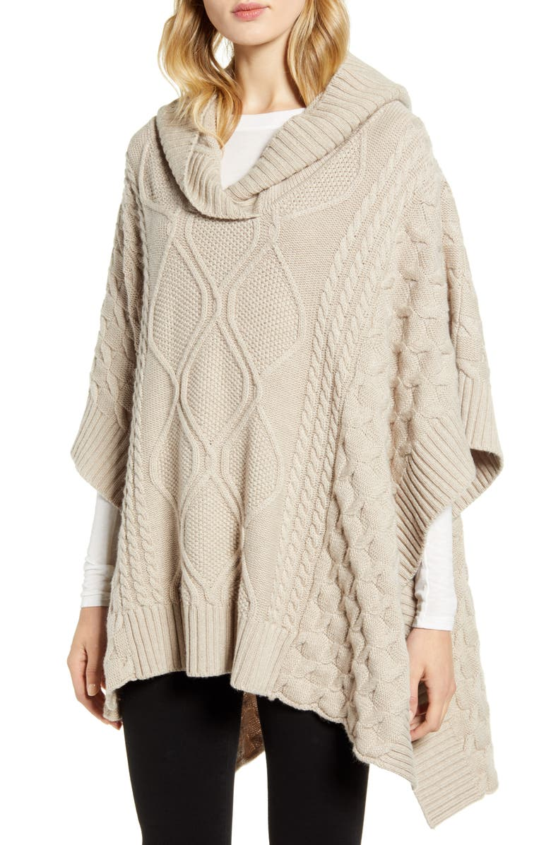 NORDSTROM SIGNATURE Cable Hooded Cashmere Poncho, Main, color, 270