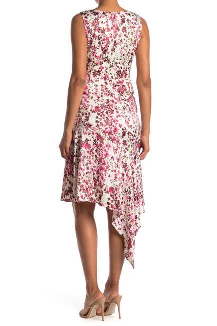 Image of Taylor Asymmetrical V-Neck Satin Crepe Dress