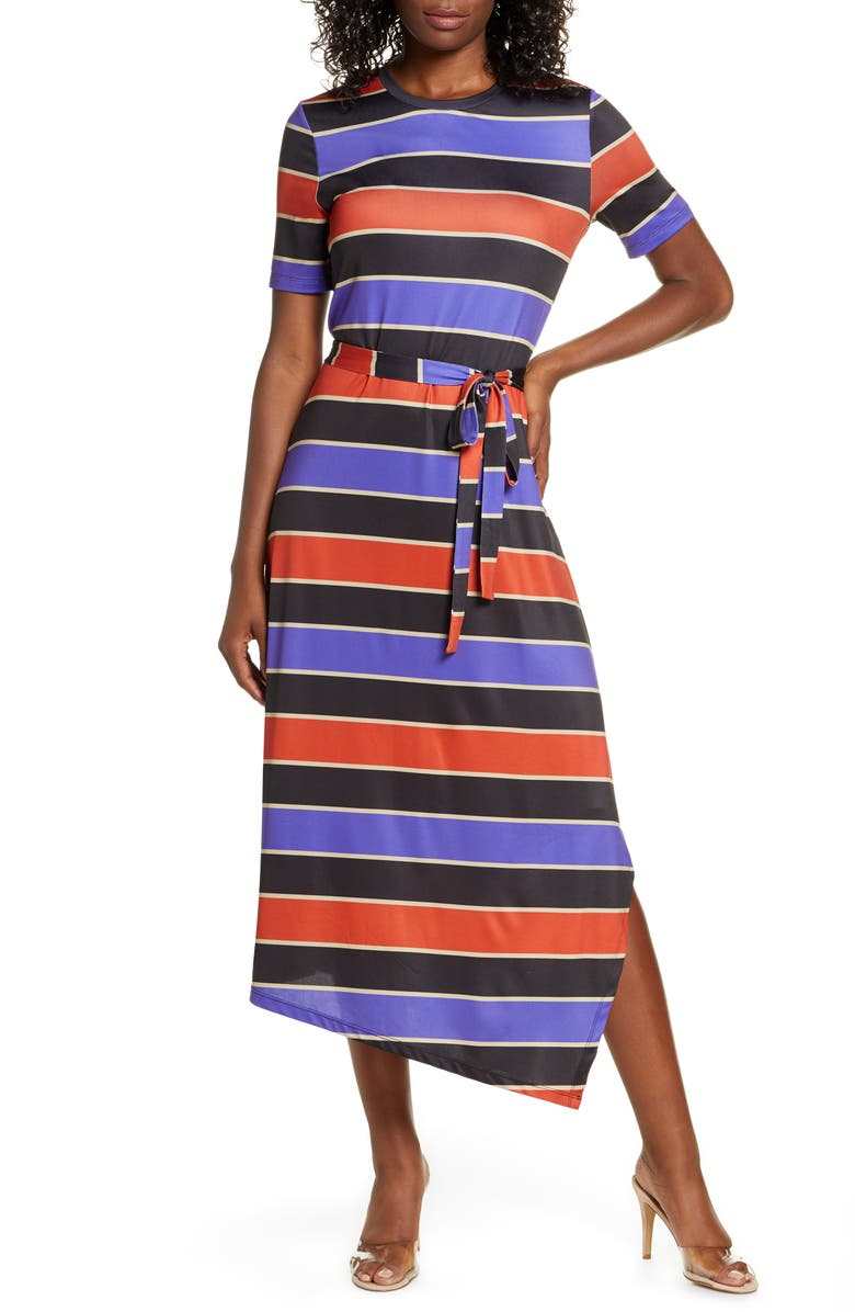 CHARLES HENRY Stripe Belted Asymmetrical Midi Dress, Main, color, BLK-PUR-ORG STRIPE