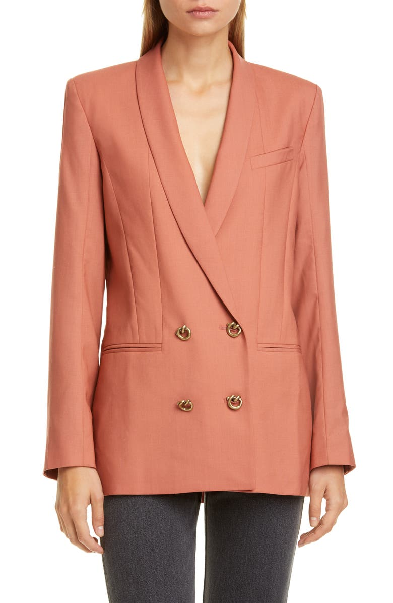 REJINA PYO Leila Double Breasted Wool Blazer, Main, color, DUSTY CORAL