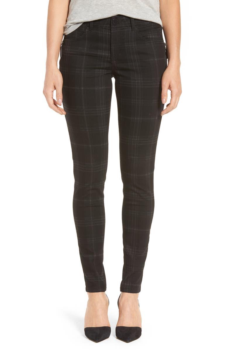 WIT & WISDOM Ab-Solution Side Zip Plaid Skinny Pants, Main, color, 001