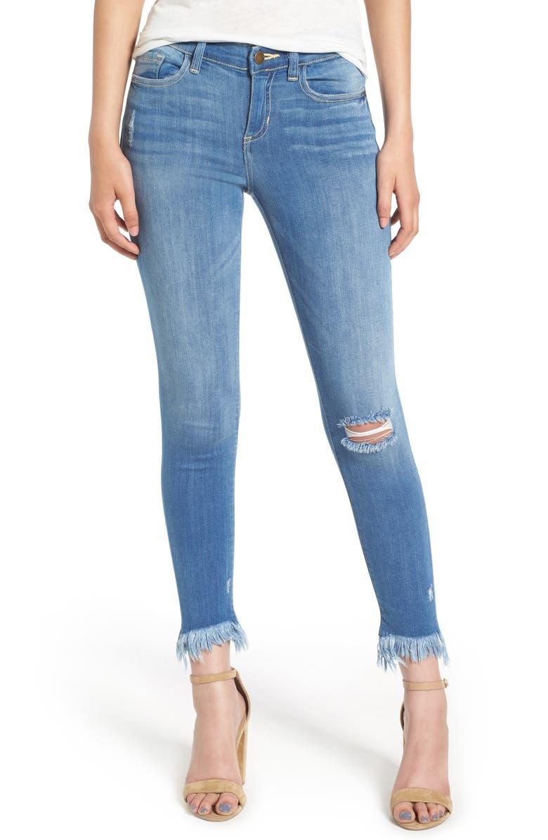 SP BLACK Fray Hem Skinny Jeans, Main, color, 400