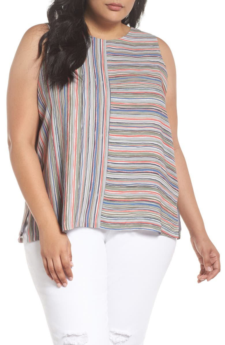 NIC+ZOE Cabana Stripe Tank, Main, color, MULTI