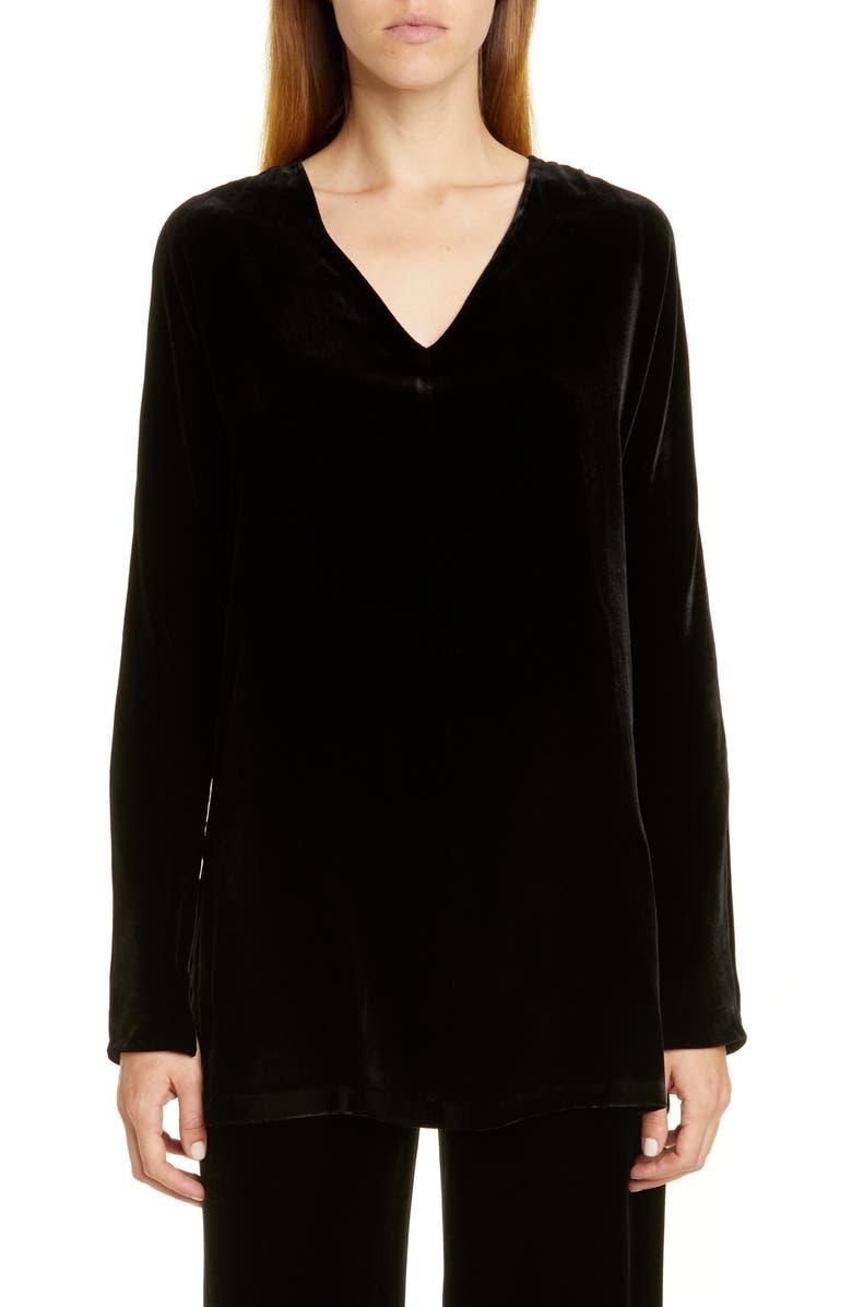 LAFAYETTE 148 NEW YORK Thurmen Velvet Blouse, Main, color, BLACK