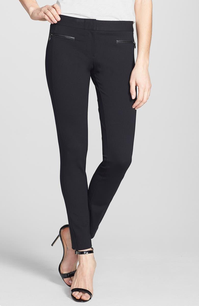 PAIGE Los Feliz Leather Trim Skinny Pants, Main, color, 001