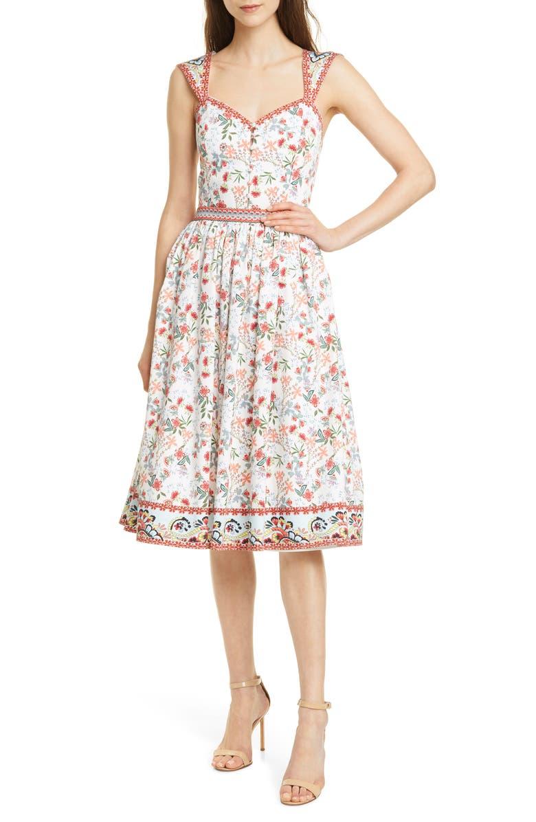 ALICE + OLIVIA Portia Floral Sweetheart Neck Stretch Cotton Midi Dress, Main, color, 400