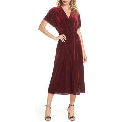 Charles Henry Texture Stripe Stretch Velvet Midi Dress, Burgundy