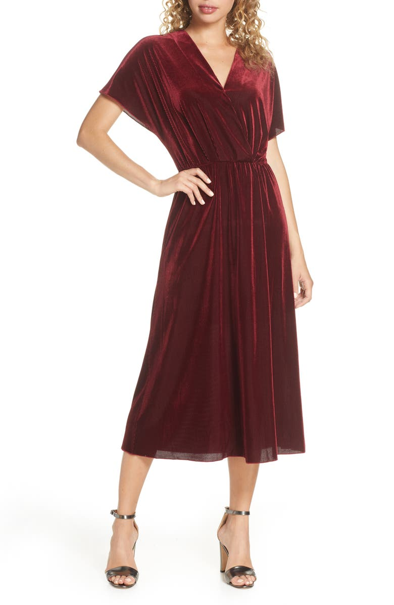 CHARLES HENRY Texture Stripe Stretch Velvet Midi Dress, Main, color, EGGPLANT PURPLE