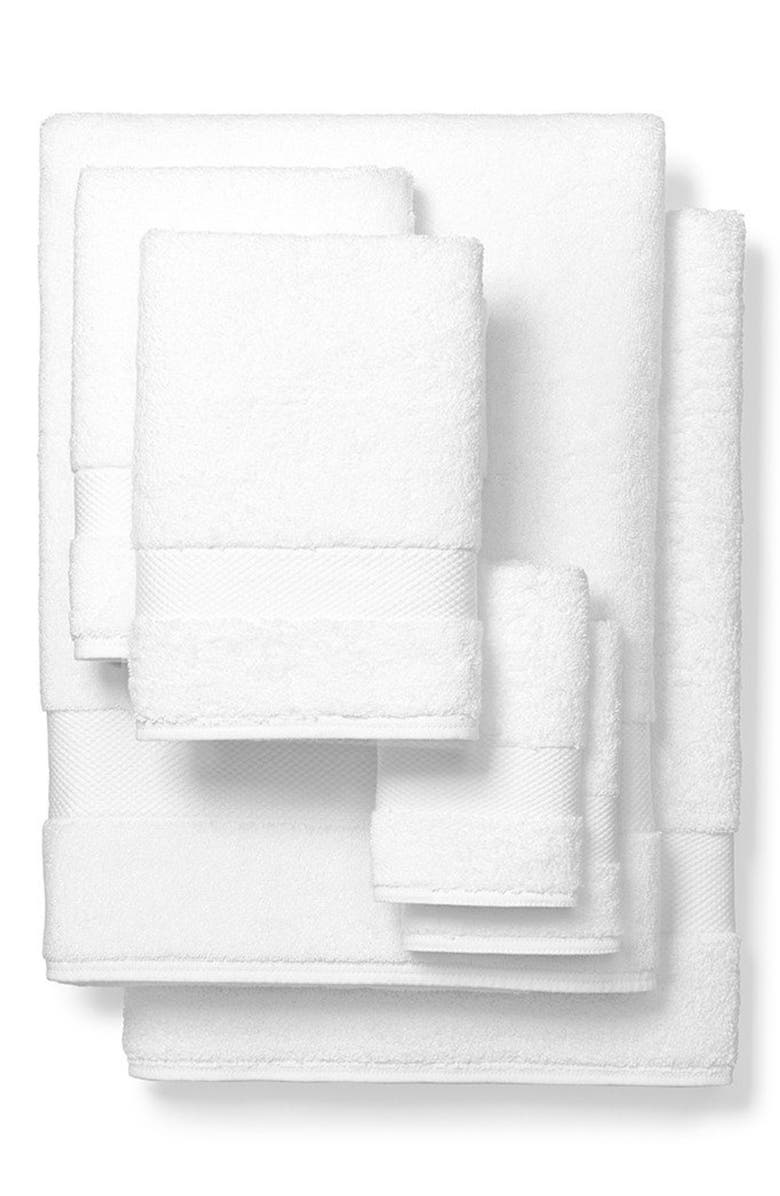 BOLL & BRANCH Organic Cotton Bath Towels, Hand Towels & Washcloths 6-Piece Set, Main, color, WHITE