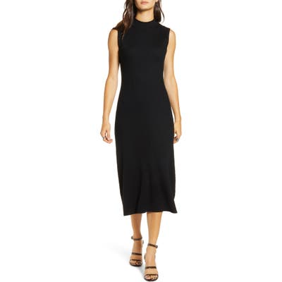 All In Favor Ribbed Midi Sweater Dress, Black