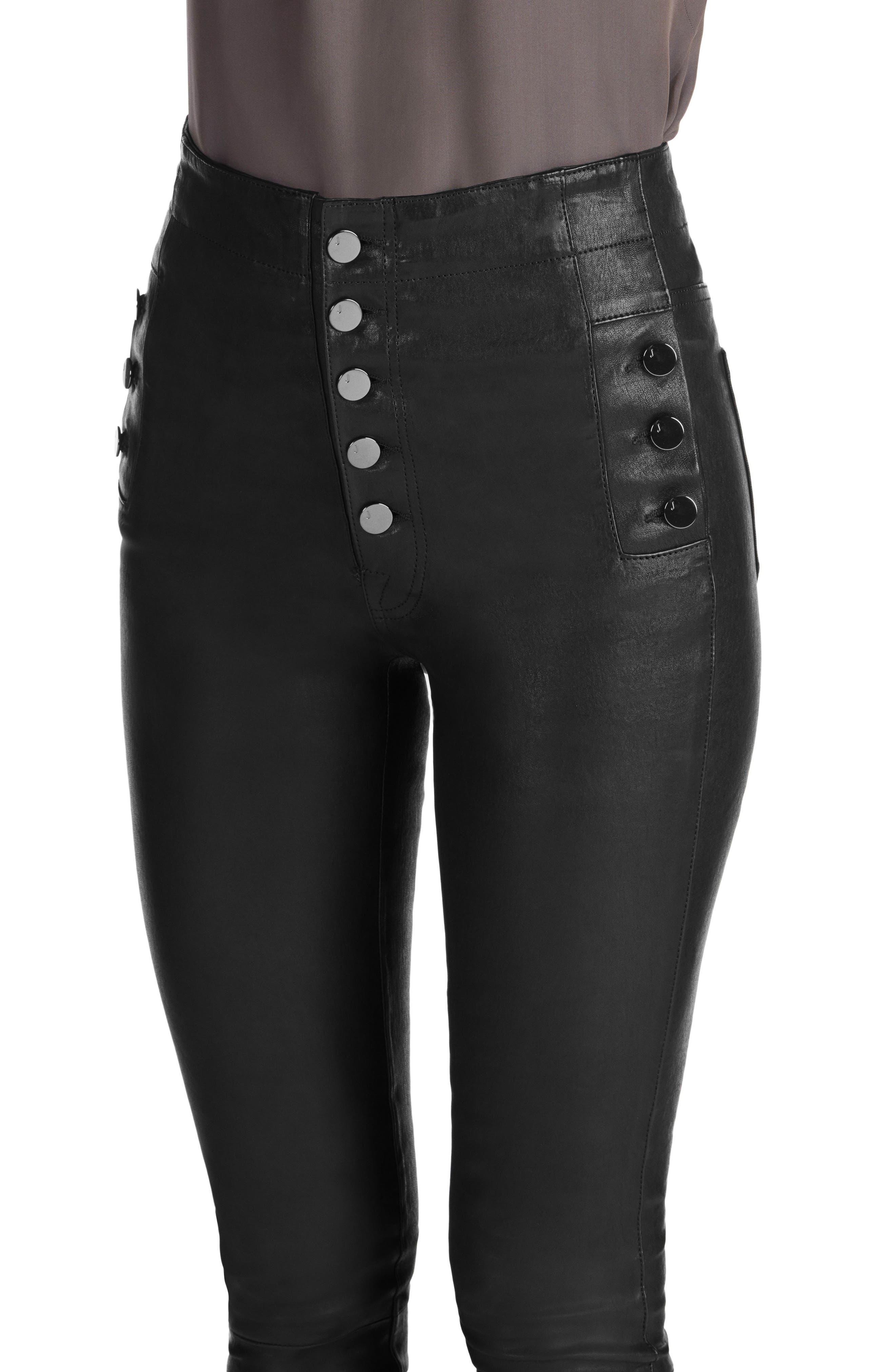 ,                             Natasha High Waist Skinny Leather Pants,                             Alternate thumbnail 2, color,                             BLACK