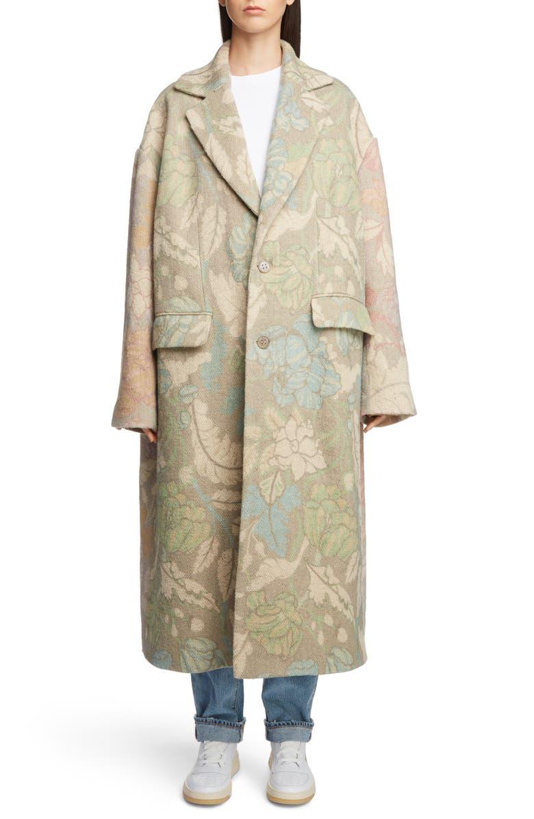 ACNE STUDIOS Floral Oversized Coat, Main, color, 950