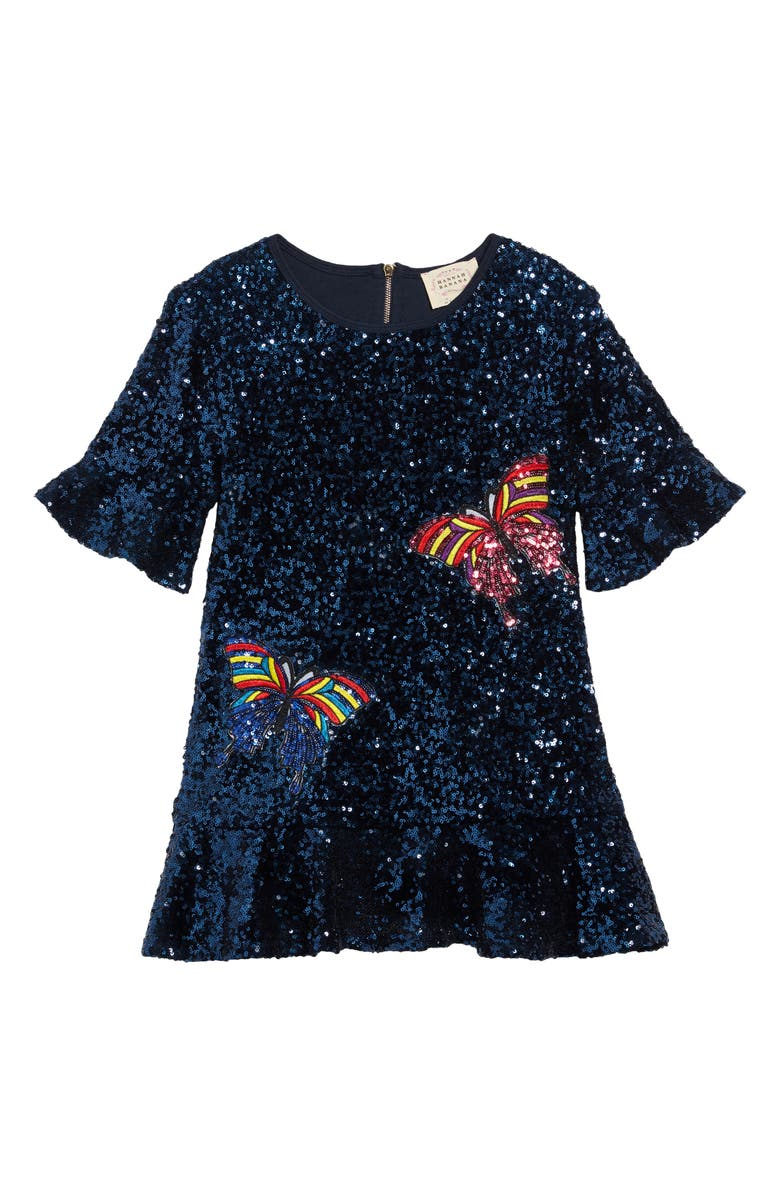 HANNAH BANANA Butterflies Sequin Dress, Main, color, NAVY