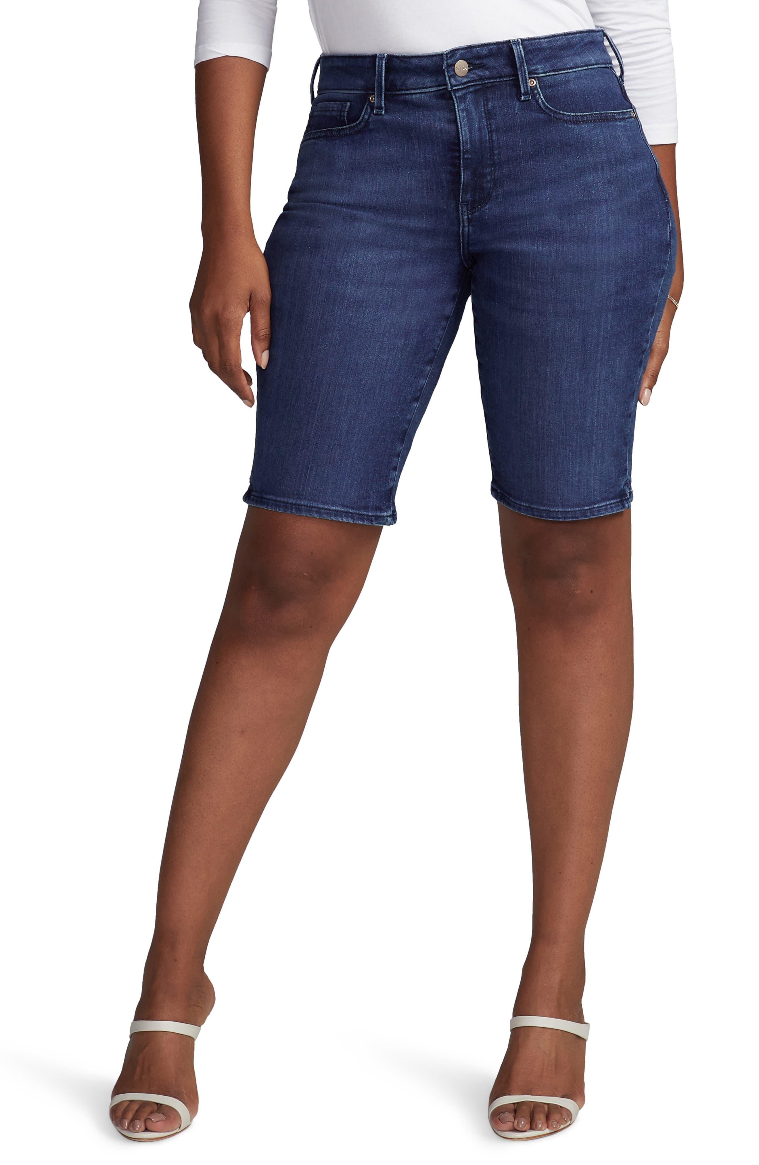 Plus Women's Curves 360 By NYDJ Side Slit Denim Shorts