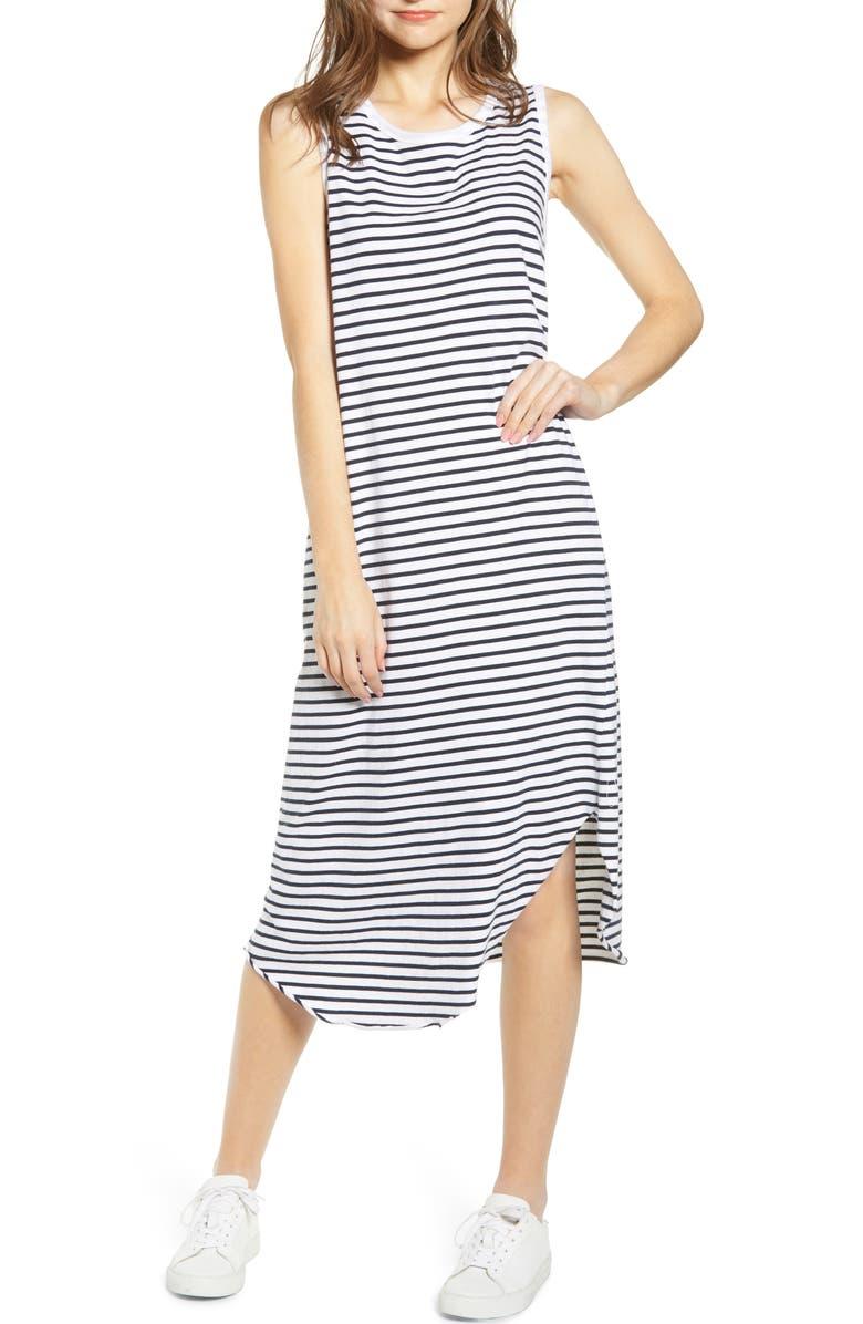 FRANK & EILEEN Stripe Relaxed Asymmetrical Hem Tank Dress, Main, color, 100