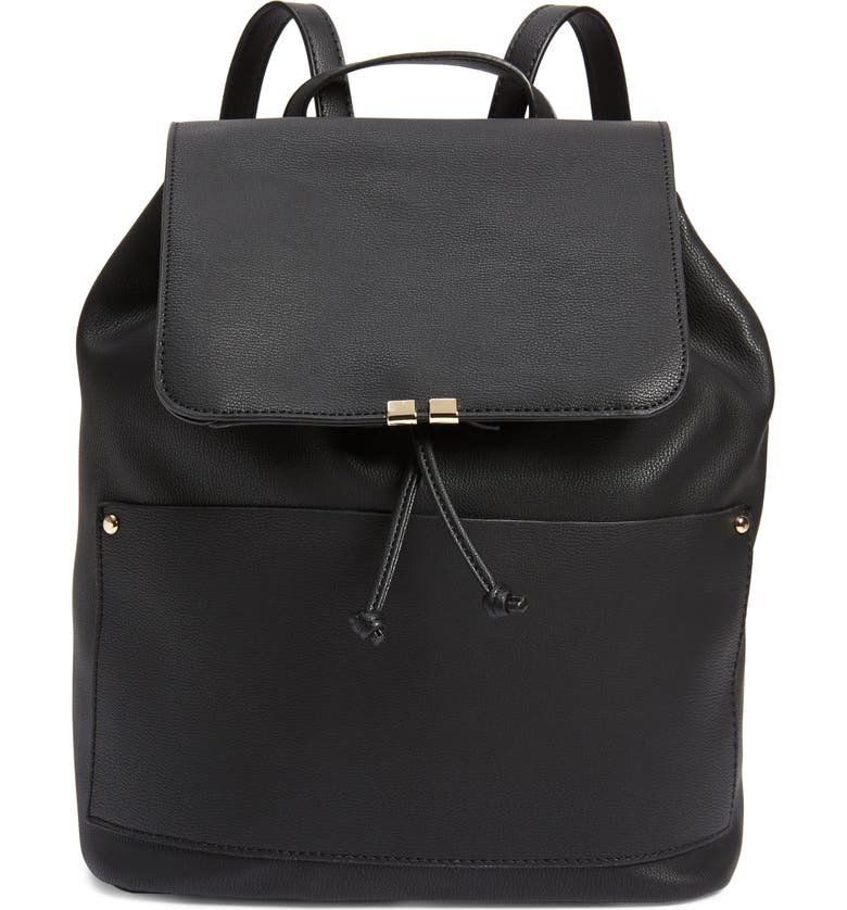 SOLE SOCIETY Faux Leather Backpack, Main, color, BLACK