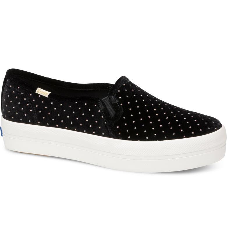 KEDS<SUP>®</SUP> FOR KATE SPADE NEW YORK triple decker glitter slip-on sneaker, Main, color, BLACK