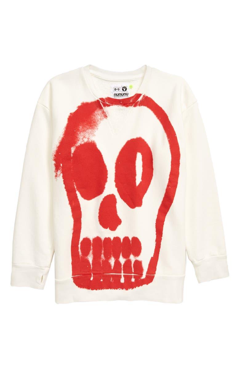 NUNUNU Painted Dizzy Skull Graphic Sweatshirt, Main, color, WHITE