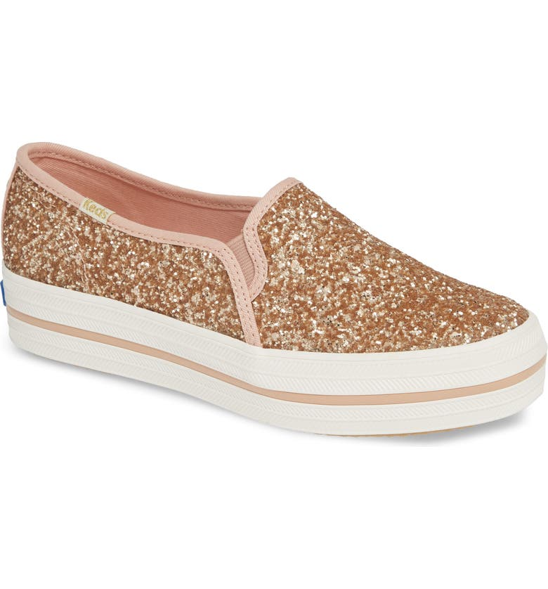KEDS<SUP>®</SUP> FOR KATE SPADE NEW YORK triple decker glitter slip-on sneaker, Main, color, ROSE GOLD