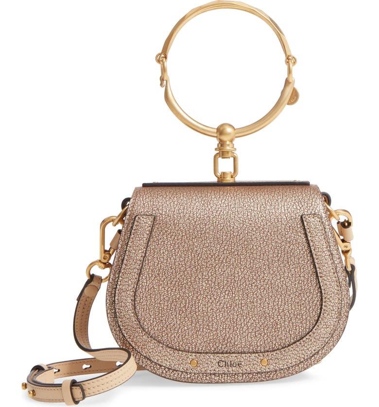 CHLOÉ Small Nile Bracelet Metallic Leather Crossbody Bag, Main, color, 711
