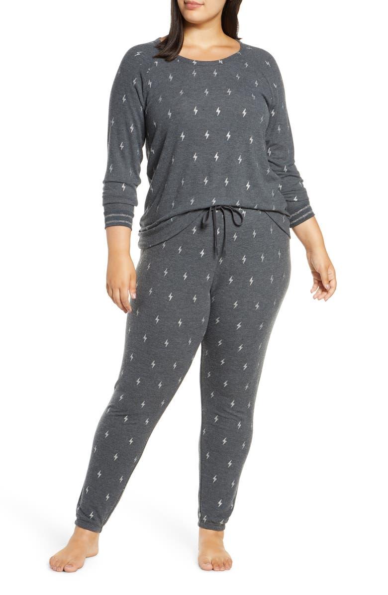 PJ SALVAGE Just Peachy Jersey Pajamas, Main, color, SMOKE