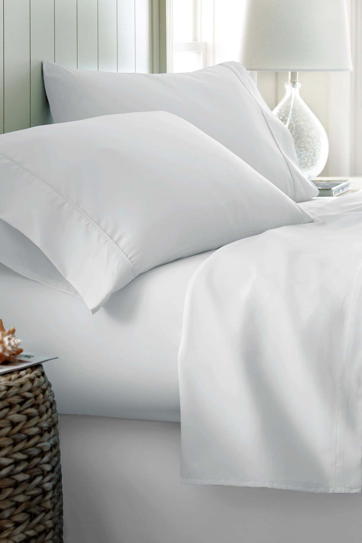Image of IENJOY HOME California King Hotel Collection Premium Ultra Soft 4-Piece Bed Sheet Set - White