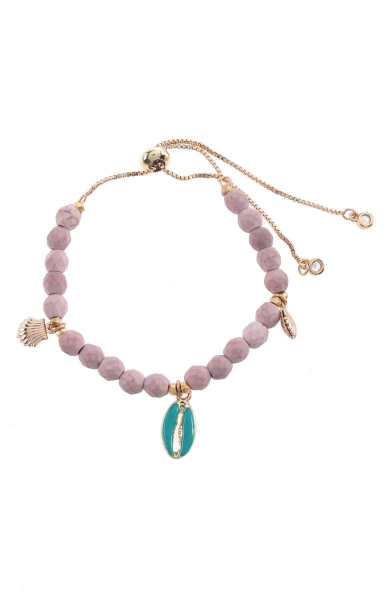 NAKAMOL CHICAGO Adjustable Beaded Charm Bracelet, Main, color, NUDE MIX