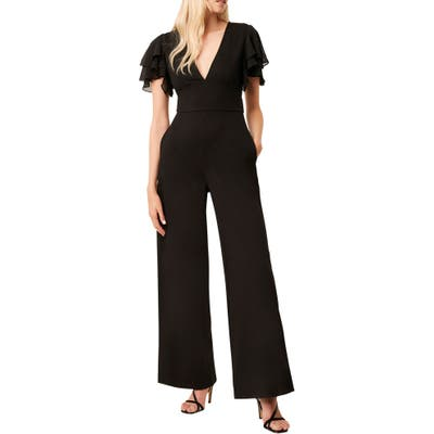 French Connection Tobina Frill Sleeve Ponte Knit Jumpsuit, Black