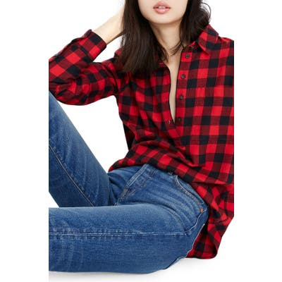 Madewell Buffalo Check Flannel Popover Shirt, Red