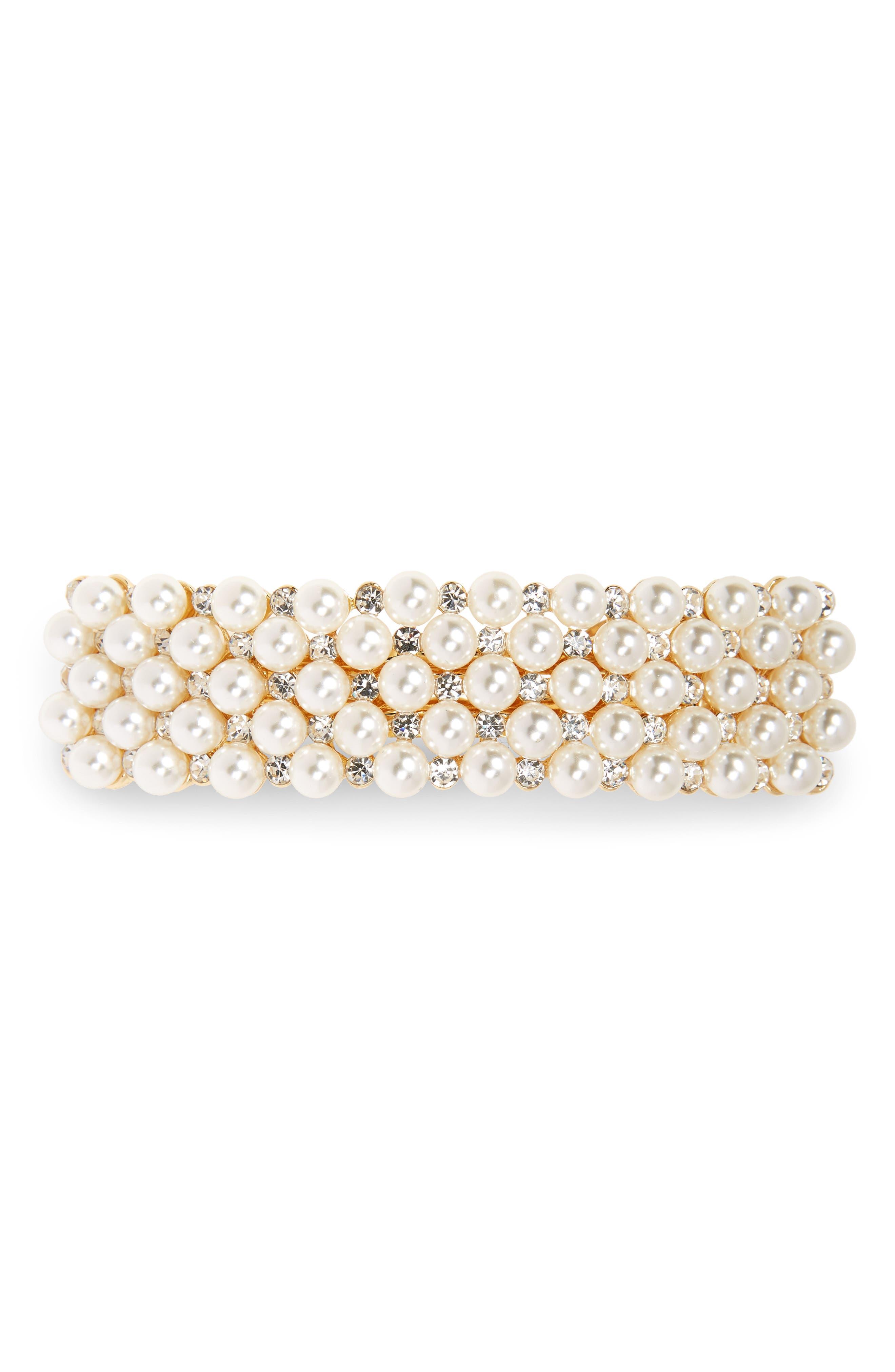 ,                             Crystal & Imitation Pearl Embellished Barrette,                             Main thumbnail 4, color,                             711