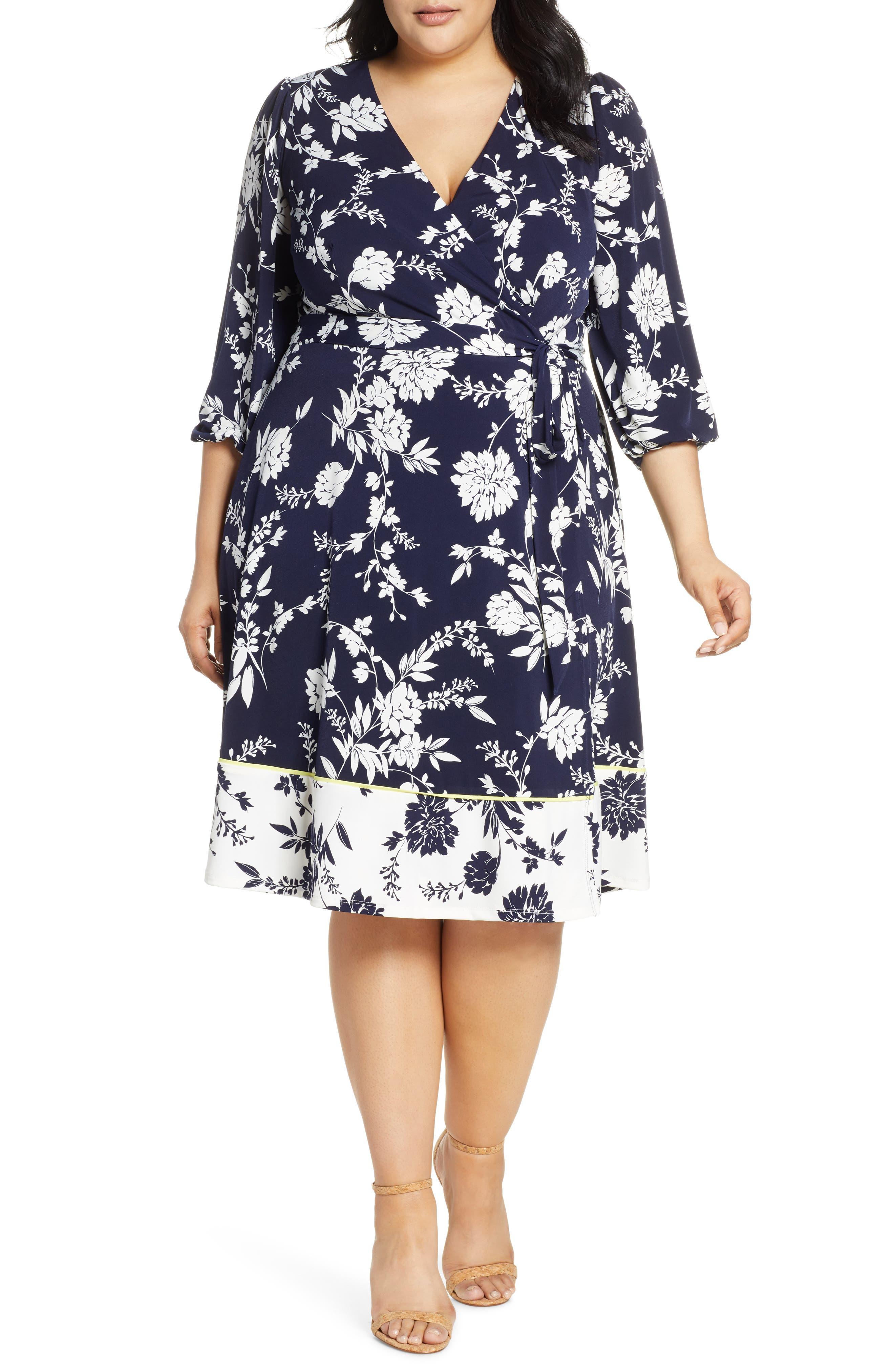 Plus Size Eliza J Floral Print Faux Wrap Dress, Blue
