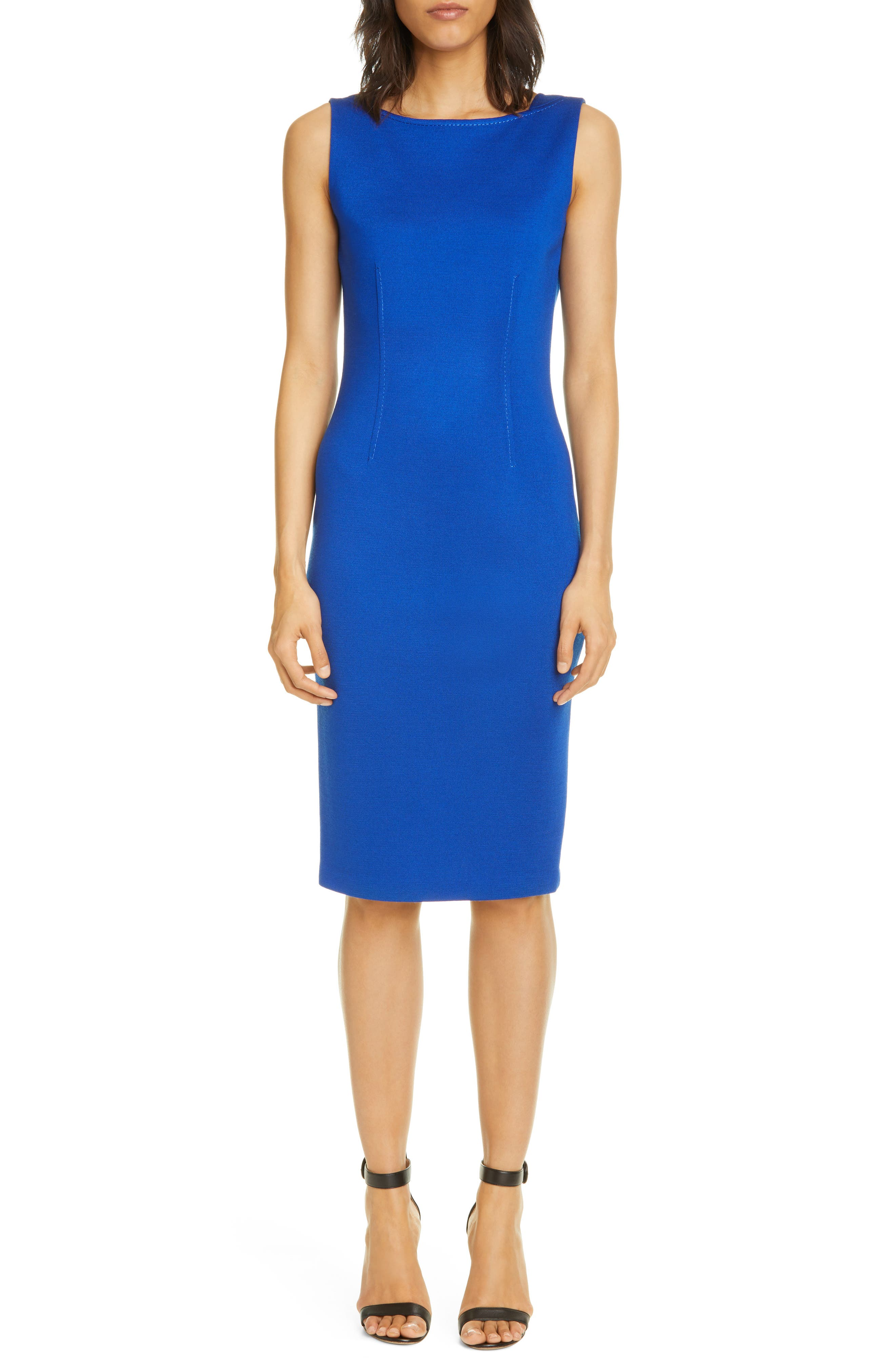 Topstitched darts nip in the waist and add subtle detail to this sleeveless sheath made from a dense, shape-retaining knit created using custom-dyed yarns. Style Name: St. John Collection Milano Knit Wool Blend Sheath Dress. Style Number: 6045021. Available in stores.