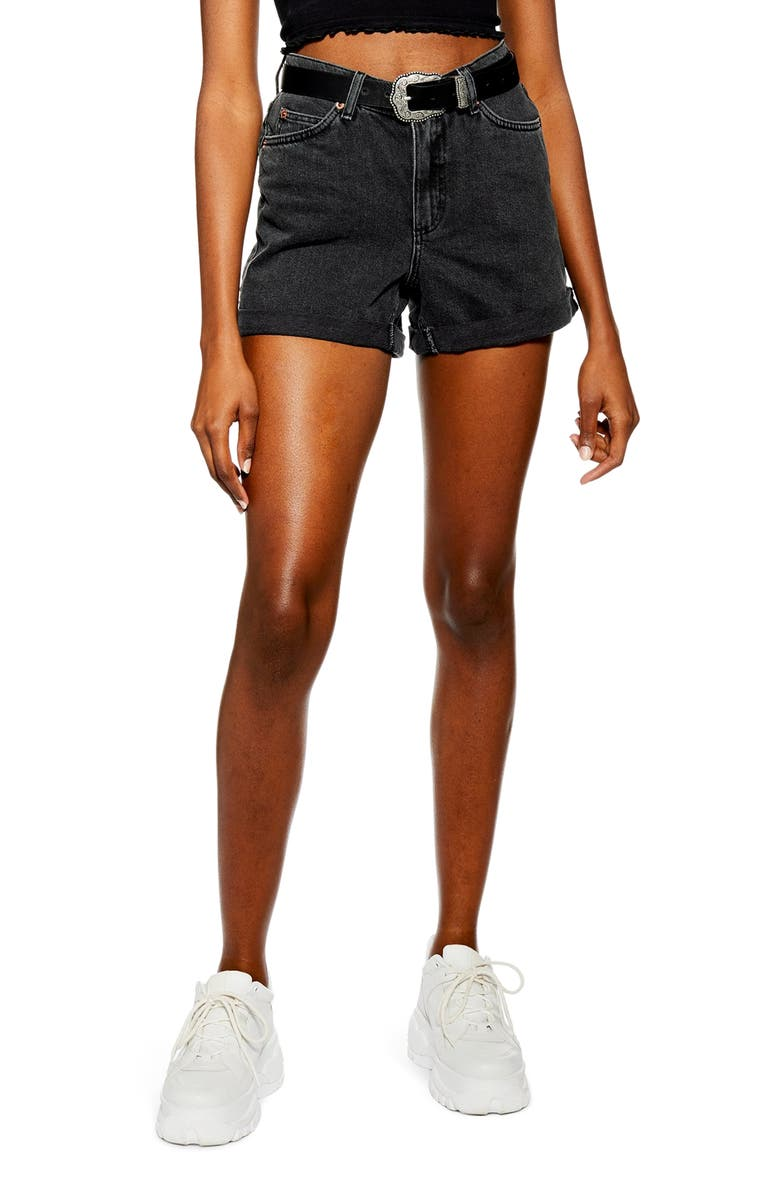 TOPSHOP Roll Hem Mom Denim Shorts, Main, color, WASHED BLACK