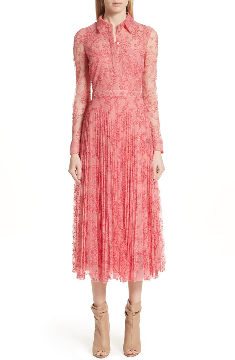 BURBERRY Clementine Floral Lace Midi Dress, Main, color, 956