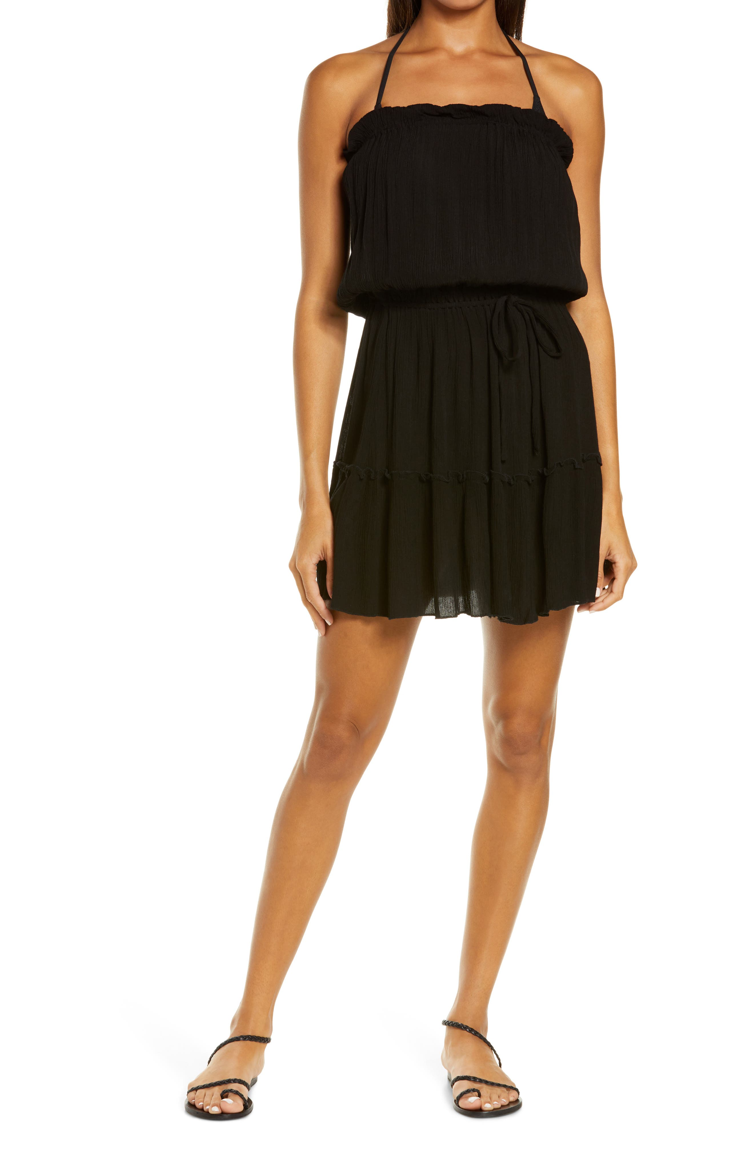 Ruffle Strapless Cover-Up Dress