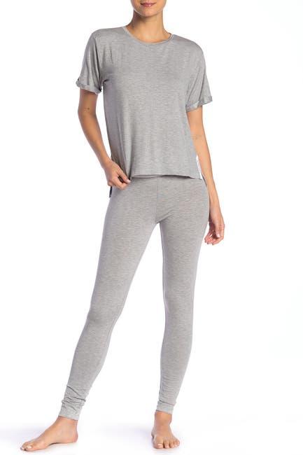Image of French Connection Heather Logo Trim T-Shirt & Pants Pajama 2-Piece Set