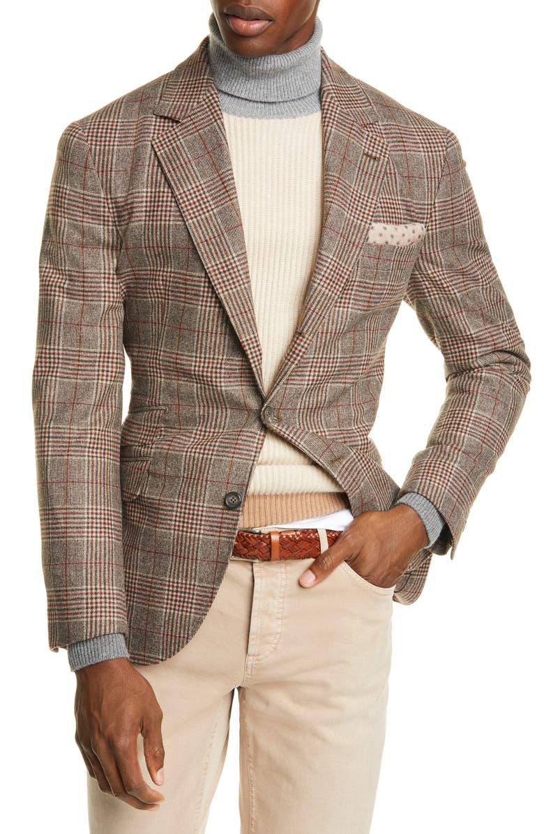 BRUNELLO CUCINELLI Trim Fit Plaid Wool & Cashmere Sport Coat, Main, color, BROWN RED