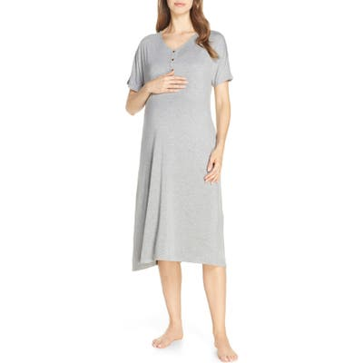 Nesting Olive Solid Maternity/nursing Nightshirt, Grey