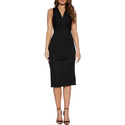 Bardot Twist Front Sleeveless Cocktail Dress, Black
