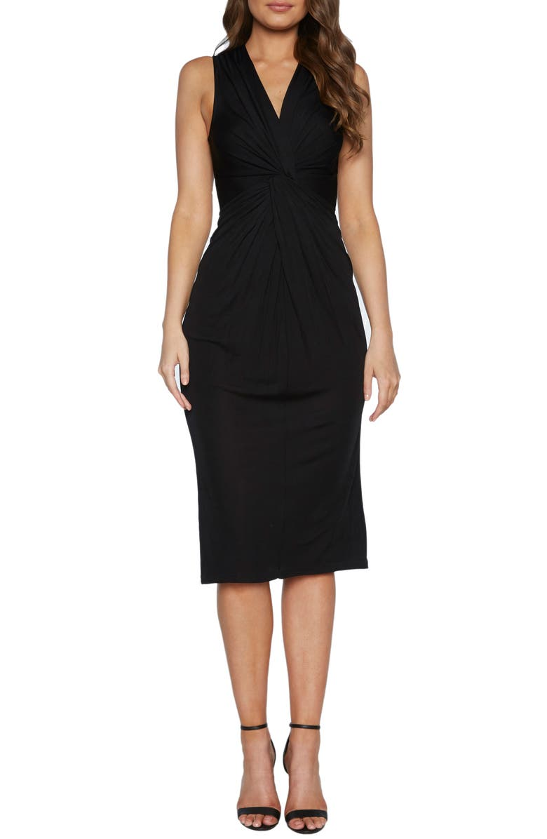 BARDOT Twist Front Sleeveless Cocktail Dress, Main, color, BLACK