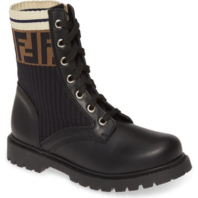 Toddler Fendi Lace-Up Boot, Black